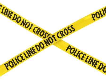 Yellow Police Line Do Not Cross Barrier Tape Cross photo