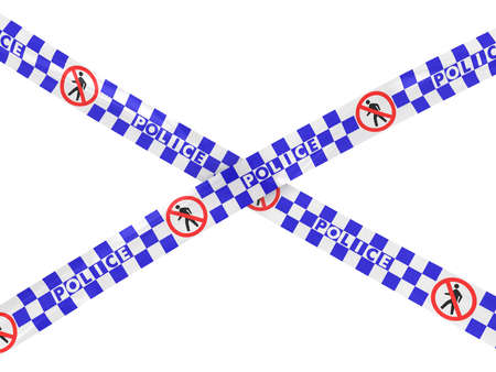 no entry: Checkered Police No Entry Tape Cross