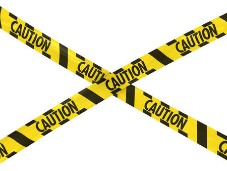Yellow and Black Striped CAUTION Tape Cross Stock Photo