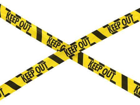 keep out: Yellow and Black Striped KEEP OUT Barrier Tape Cross