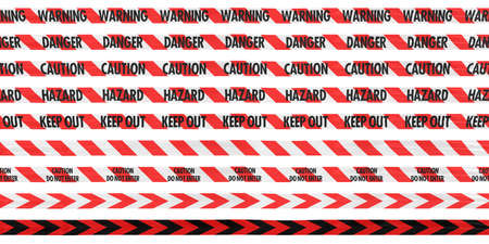 Red and White Barrier Tape Line Collection: WarningDangerCautionHazardKeep Out photo