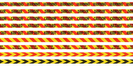 Yellow and Red Barrier Tape Line Collection: WarningDangerCautionHazardKeep Out photo