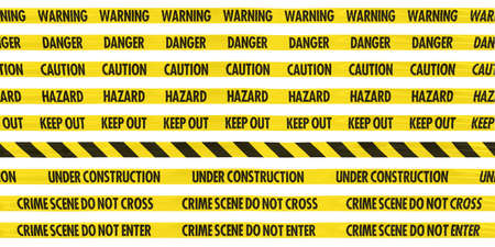Isolated Yellow Barrier Tape Line Collection  CautionHazardWarningDangerKeep OutUnder ConstructionCrime Scene