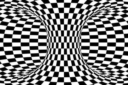 torus: Black and White Checkered Torus Abstract Background