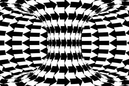 torus: Black and White Horizontal Arrows Torus Abstract Background