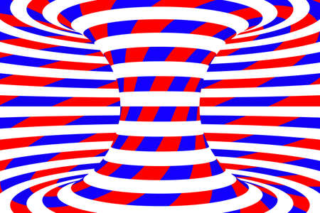 torus: Red, White and Blue Stripes and Swirls Abstract psychedelic Torus Background