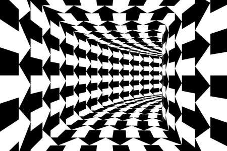 Black and White Arrows Square Walled Tunnel Abstract Background Imagens - 46393455