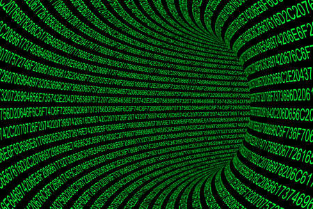 Glowing Green Hexadecimal Code Tunnel Abstract Background Imagens - 46393436