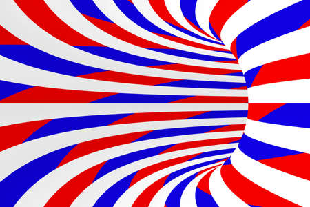 torus: Red, White and Blue Swirls and Stripes Abstract Torus Background Stock Photo