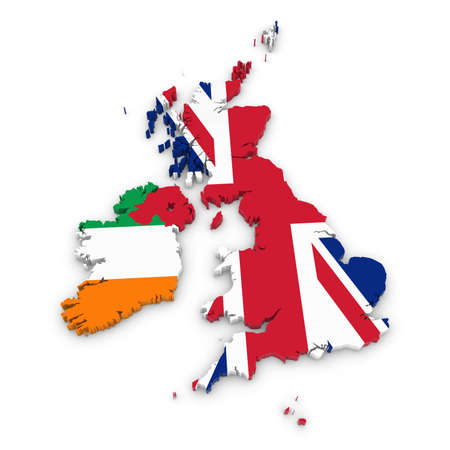 3D Outline of the United Kingdom and Ireland textured with the Union Jack and Irish Flags Banque d'images