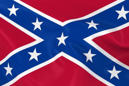 bandera estados unidos: Ondeando la bandera de la Confederación - 3d de la bandera confederada con textura sedosa Foto de archivo