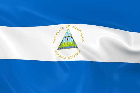 nicaraguan: Waving Flag of Nicaragua - 3D Render of the Nicaraguan Flag with Silky Texture Stock Photo