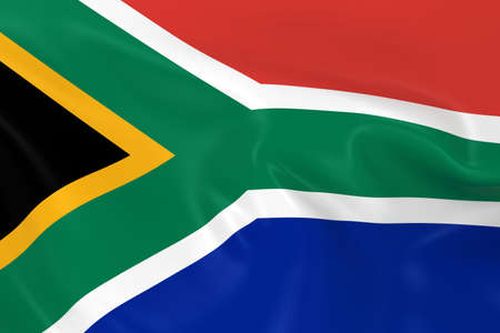 south african flag: Waving Flag of South Africa - 3D Render of the South African Flag with Silky Texture