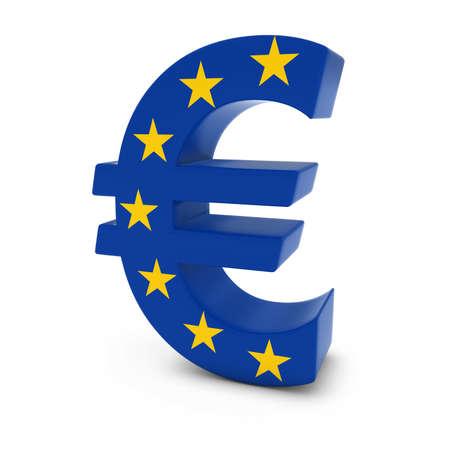 euro symbol: Euro Symbol textured with the European Union Flag Isolated on White Background Stock Photo