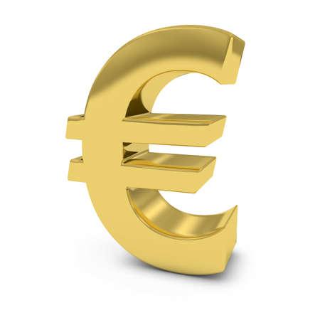 shiny gold: Shiny Gold Euro Symbol Isolated on White Background Stock Photo