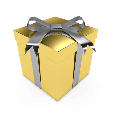 wrapped present: Shiny Gold Christmas Present tied with a Silver Bow - 3D render of a Golden Gift Box with a Silver Ribbon isolated on white