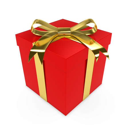red gift box: Red Christmas Present tied with a Shiny Gold Bow - 3D render of a Red Gift Box with a Golden Ribbon isolated on white