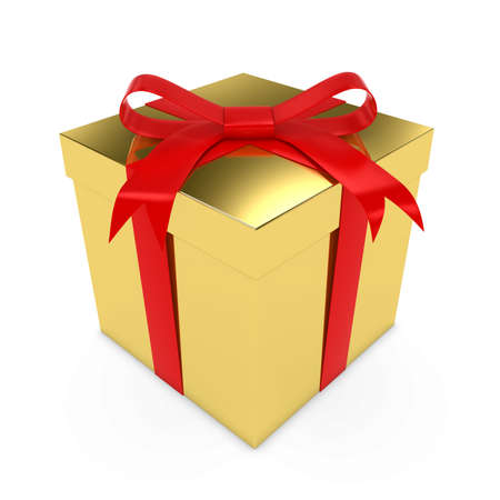 Shiny Gold Christmas Present tied with a Red Bow - 3D render of a Golden Gift Box with a Red Ribbon isolated on white Stock Photo