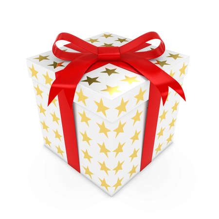 White Christmas Present with Golden Stars - 3D render of a White Gift box with Gold Stars and a Red Ribbon