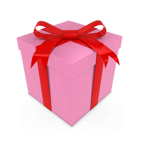 red gift box: Valentines Day Gift Box - 3D render of a Pink Box with Red Ribbon Stock Photo