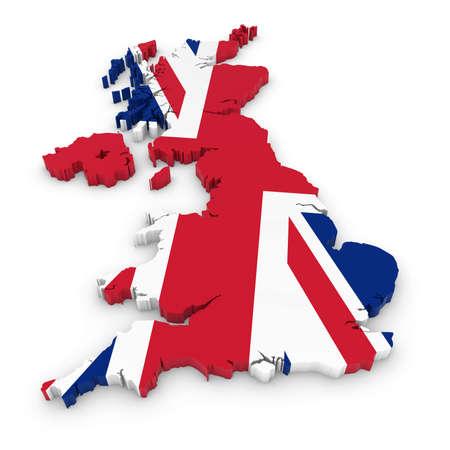 3D-overzicht van het Verenigd Koninkrijk geweven met de Union Jack Flag