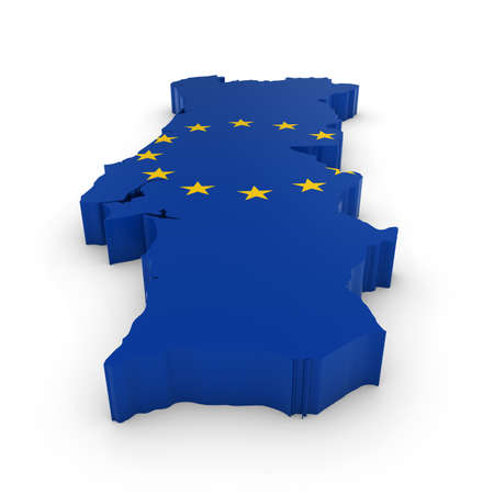 european union flag: 3D Outline of Portugal textured with the European Union Flag