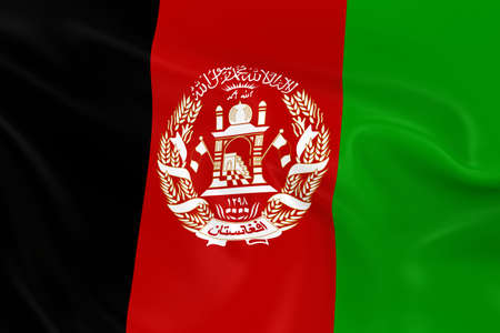 afghan flag: Waving Flag of Afghanistan - 3D Render of the Afghanistani Flag with Silky Texture Stock Photo