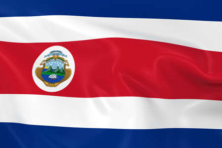costa rican: Waving Flag of Costa Rica - 3D Render of the Costa Rican Flag with Silky Texture