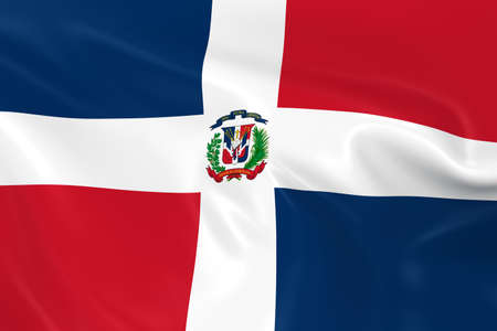 dominican: Waving Flag of the Dominican Republic - 3D Render of the Dominican Flag with Silky Texture