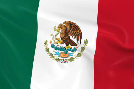 Waving Flag of Mexico - 3D Render of the Mexican Flag with Silky Texture