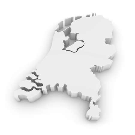 White 3D Outline of the Netherlands Isolated on White