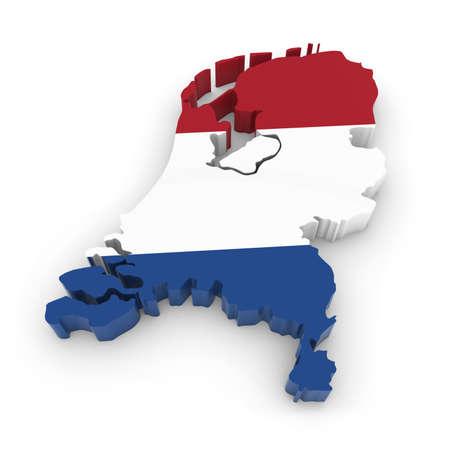 3D-overzicht van Nederland textuur met de Nederlandse Vlag