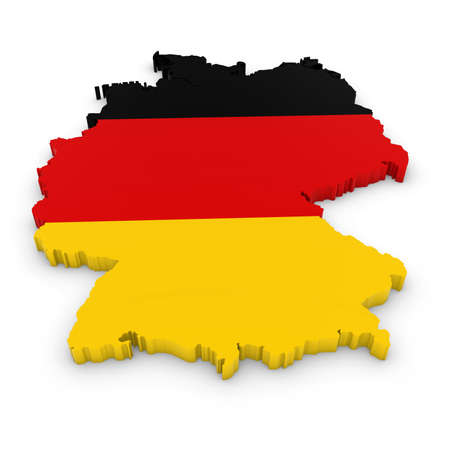three dimensional: 3D Outline of Germany textured with the German Flag