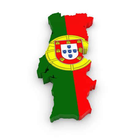 three dimensional shape: 3D Outline of Portugal textured with the Portuguese Flag
