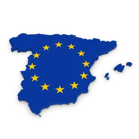 european union flag: 3D Outline of Spain textured with the European Union Flag Stock Photo