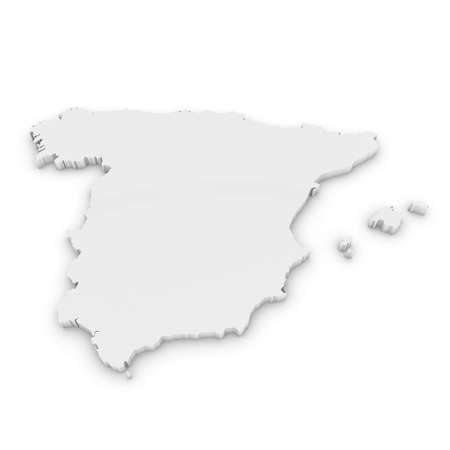 White 3D Outline of Spain Isolated on White Imagens - 46393353