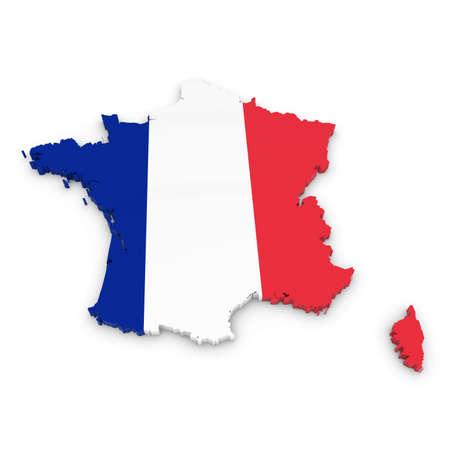 bandera blanca: Esquema 3D de Francia con textura con la bandera francesa Foto de archivo