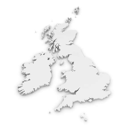 White 3D Outline of the United Kingdom and Ireland Isolated on White Stock Photo