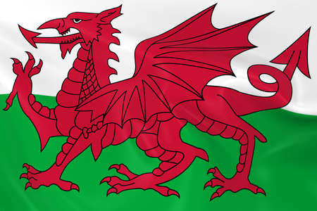 welsh flag: Waving Flag of Wales - 3D Render of the Welsh Flag with Silky Texture