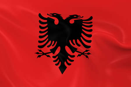 albanian: Waving Flag of Albania - 3D Render of the Albanian Flag with Silky Texture