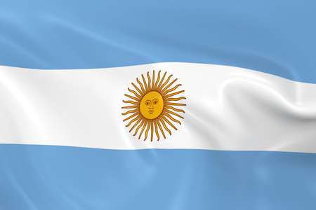 argentinian: Waving Flag of Argentina - 3D Render of the Argentinian Flag with Silky Texture Stock Photo