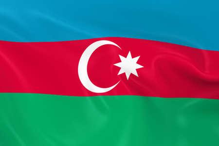 azerbaijani: Waving Flag of Azerbaijan - 3D Render of the Azerbaijani Flag with Silky Texture