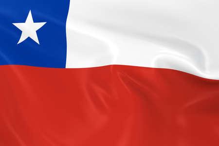 bandera chilena: Ondeando la bandera de Chile - Render 3D de la bandera chilena con sedosa textura Foto de archivo