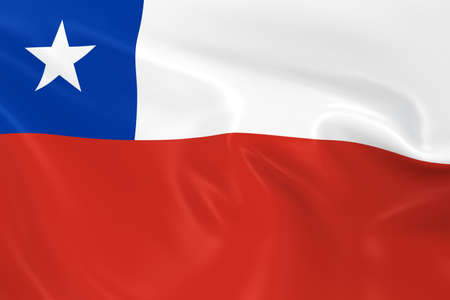 chilean flag: Waving Flag of Chile - 3D Render of the Chilean Flag with Silky Texture