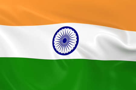 india 3d: Waving Flag of India - 3D Render of the Indian Flag with Silky Texture