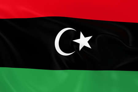 libyan: Waving Flag of Libya - 3D Render of the Libyan Flag with Silky Texture
