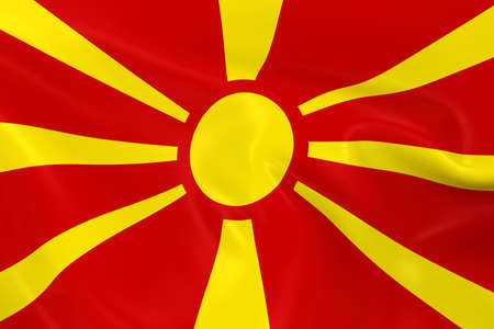 macedonian flag: Waving Flag of Macedonia - 3D Render of the Macedonian Flag with Silky Texture Stock Photo