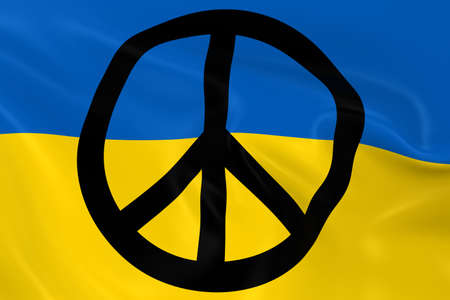ukranian: Peace in Ukraine Concept Image - 3D Render of the Ukranian Flag with overlaid Peace Symbol