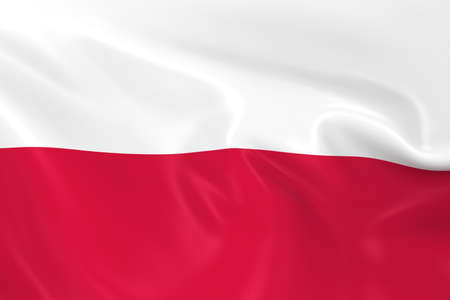 Waving Flag of Poland - 3D Render of the Polish Flag with Silky Texture Stock Photo