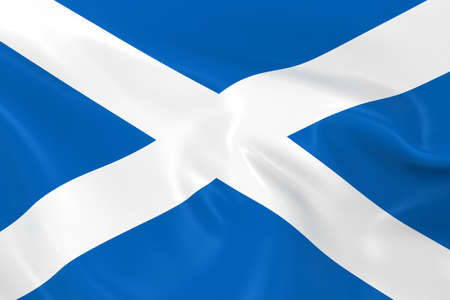 scottish flag: Waving Flag of Scotland - Render 3D della bandiera scozzese con texture setosa Archivio Fotografico